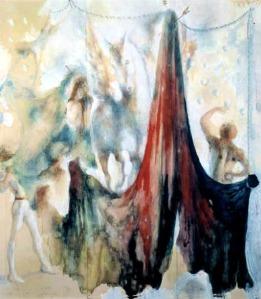 Павел Челищев. Белая лошадь и акробаты, эскиз (1941)