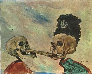 Джеймс Энсор. Борьба скелетов за копченую сельдь (1891)