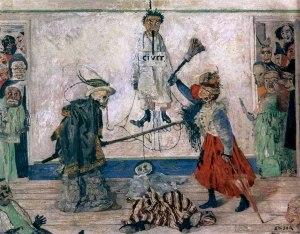 Джеймс Энсор. Борьба скелетов за тело повешенного (1891)