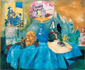 Джеймс Энсор. Натюрморт с веерами и китайским фарфором (1880)