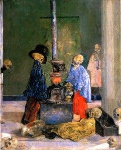 Джеймс Энсор. Греющиеся скелеты (1899)