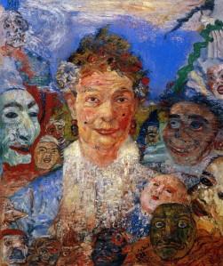 Джеймс Энсор. Пожилая женщина с масками (1889)