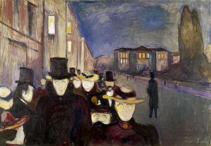 Эдвард Мунк. Вечер на улице Карла Юхана (1892)