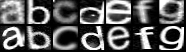 Искаженные буквы, использованные при обучении нейросети. Изображение: Google