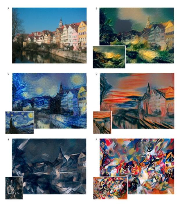 Пейзаж города Тюбинген, обработанный в нескольких разных стилях. Изображение: Leon A. Gatys et al./ arXiv.org